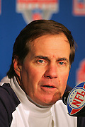 PITTSBURGH - JANUARY 23:  Head coach Bill Belichick of the New England Patriots speaks at a postgame press conference after the Patriots win over the Pittsburgh Steelers in the AFC Championship game at Heinz Field on January 23, 2005 in Pittsburgh, Pennsylvania. The Pats defeated the Steelers 41-27. ©Paul Anthony Spinelli  *** Local Caption *** Bill Belichick
