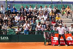 Nik Razborsek, Andraz Bedene, Julia Mihaela Moldovan and Miha Mlakar of Slovenia react during Davis Cup 2018 Europe/Africa zone Group II between Slovenia and Turkey, on April 8, 2018 in Portoroz / Portorose, Slovenia. Photo by Vid Ponikvar / Sportida