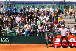 Nik Razborsek, Andraz Bedene, Julia Mihaela Moldovan and Miha Mlakar of Slovenia react during Davis Cup 2018 Europe/Africa zone Group II between Slovenia and Turkey, on April 8, 2018 in Portoroz / Portorose, Slovenia. Photo by Vid Ponikvar / Sportida
