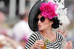 May 3, 2019 - Louisville, KY, U.S. - LOUISVILLE, KY - MAY 03: Fancy hats were on display during Kentucky Oaks day at Churchill Downs Racetrack on May 4, 2018 in Louisville, Kentucky. (Photo by Jeffrey Brown/Icon Sportswire) (Credit Image: © Jeffrey Brown/Icon SMI via ZUMA Press)
