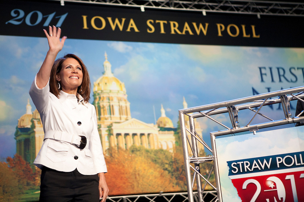 Republican presidential hopeful Michele Bachmann waves to the crowd at the Iowa Republican Straw Poll on Saturday, August 13, 2011 in Ames, IA.