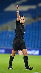 CARDIFF, WALES - Thursday, September 26, 2013: Referee Eszter Urban during the FIFA Women's World Cup Canada 2015 Qualifying Group 6 match between Wales and Belarus at the Cardiff City Stadium. (Pic by David Rawcliffe/Propaganda)