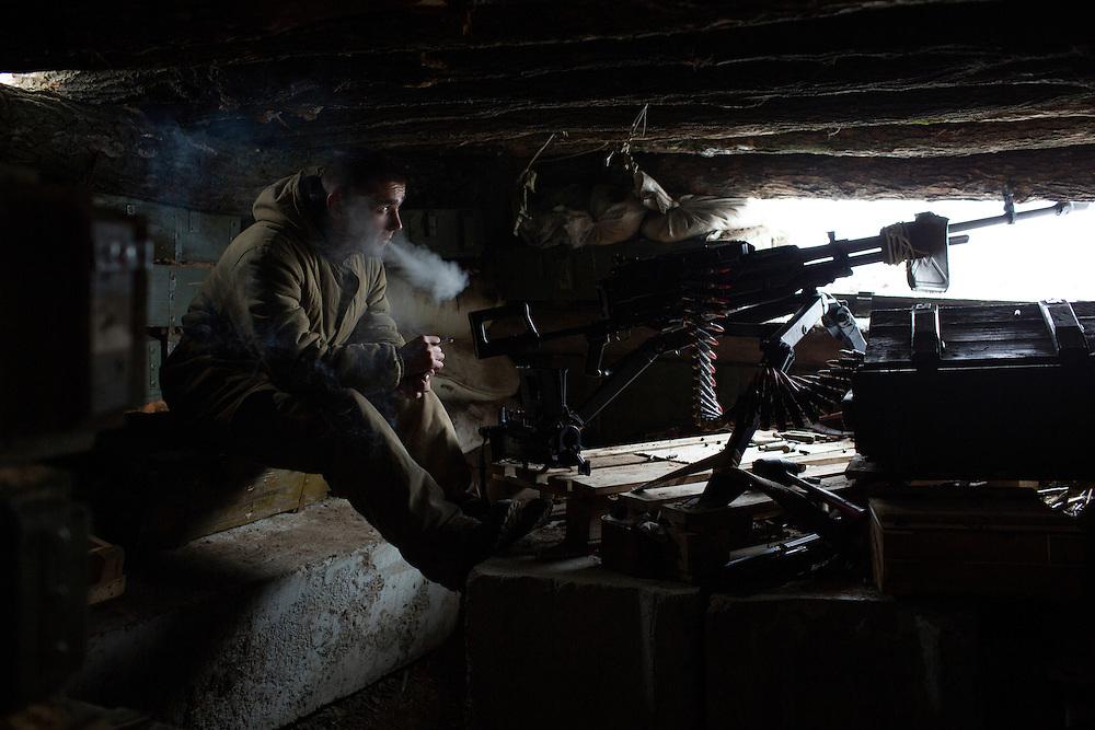 Ukraina<br /> <br /> Alexander fr&aring;n Sibirien i Ryssland strider med DPR, Donetsk People Republic, mot Ukraina. Han &auml;r placerad i Spartak utanf&ouml;r Donetsk.<br /> <br /> Photo: Niclas Hammarstr&ouml;m