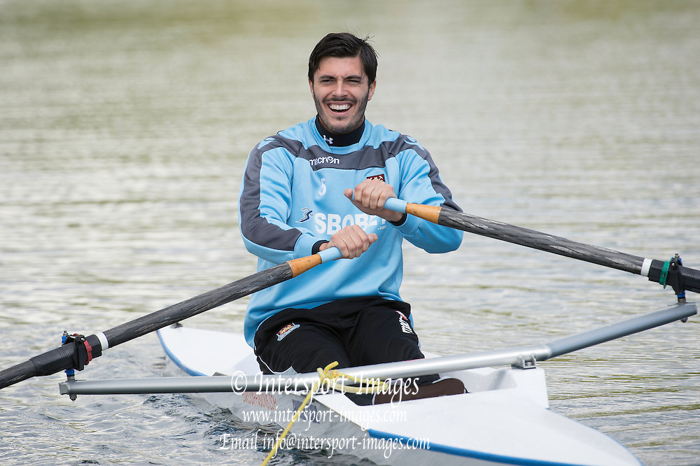 West Ham United try Rowing as alternative training at Eton Dorneyy Lake as guest of Mark Hunter World Rowing Champion in Lightweight Double Scull also Gold and Silver Medalist at Olympics...James Tomkins [Mandatory Credit. Intersport Images]