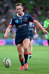 March 1, 2019 - Victoria, VIC, U.S. - MELBOURNE, AUSTRALIA - MARCH 01: Dane Haylett-Petty (15) of the Melbourne Rebels runs for the ball at The Super Rugby match between Melbourne Rebels and Highlanders on March 01, 2019 at AAMI Park, VIC. (Photo by Speed Media/Icon Sportswire) (Credit Image: © Speed Media/Icon SMI via ZUMA Press)