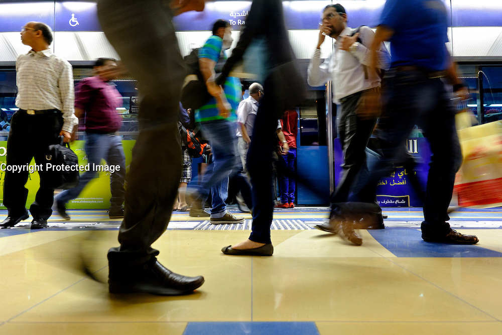 Passengers on Platform at station on Dubai metro system in United Arab Emirates