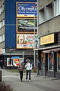 Strassenszene in der Naehe der Skoda Autowerke im Zentrum von Mlada Boleslav. Mlada Boleslav liegt noerdlich von Prag und ist ungefaehr 60 Kilometer von der tschechischen Haupstadt entfernt. Skoda Auto besch&auml;ftigt in Tschechien 23.976 Mitarbeiter (Stand 2006), den Grossteil davon in der Zentrale in Mlada Boleslav. Damit sind mehr als 3/4 aller Erwerbst&auml;tigen der Stadt in dem Automobilkonzern t&auml;tig.<br /> <br />                                       Street scene close to the Skoda factory in the city of Mlada Boleslav. The city is located north of Prague and about 60 km away from the Czech capital. Skoda Auto has about 23.976 employees (2006) in Czech Republic and a big part of them is working in Mlada Boleslav. 3/4 of the working population in Mlada Boleslav is working for the Skoda Auto company.