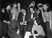 Jimmy O'Dea with girls 'Still at It' Christmas Show at The Gaiety - special for Waveband.17/12/1952