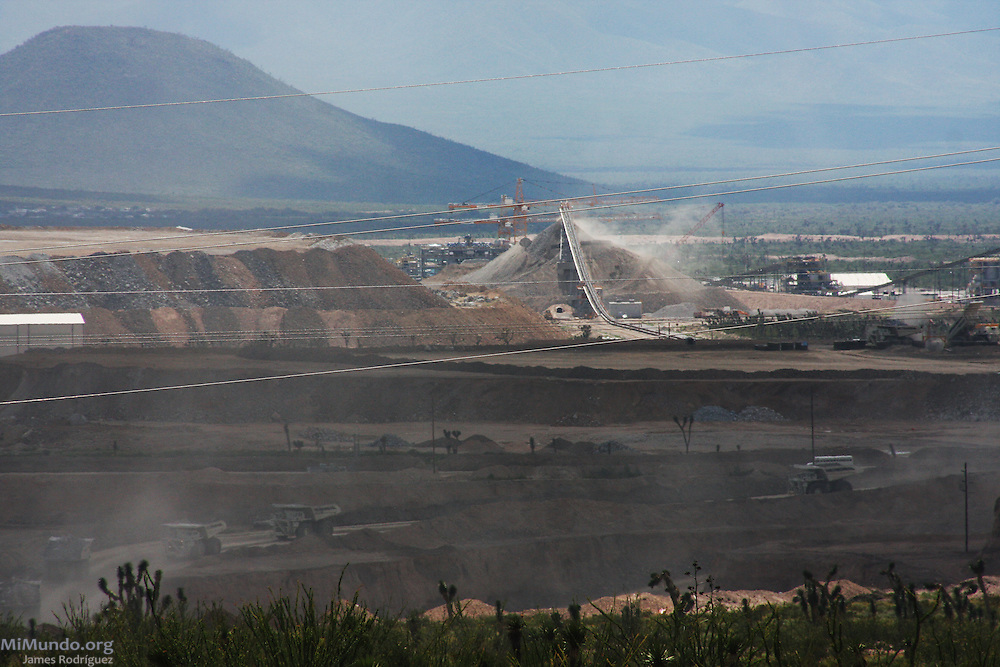Goldcorp's Peñasquito open pit gold mine uses cyanide for its lixiviation process. Since the 2005 establishment of Peñasquito in the arid semi-desert municipality of Mazapil, Mexico, local communities have complained that Latin America's largest gold producing mine has drastically diminished the scarce water sources available and enticed land disputes. Mazapil, Zacatecas, México. October 3, 2009.