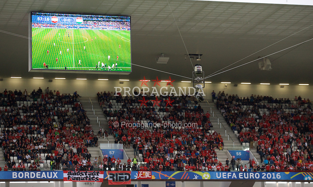 BORDEAUX, FRANCE - Monday, June 14, 2016: A general view of the Spidercam during the UEFA Euro 2016 Championship match between Austria and Hungary at Stade de Bordeaux. (Pic by Paul Greenwood/Propaganda)