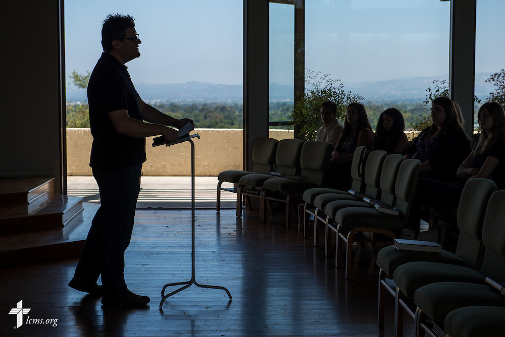 Vicar Jonathan Ruehs leads daily chapel in Good Shepherd Chapel at Concordia University Irvine on Wednesday, July 9, 2014, in Irvine, Calif. LCMS Communications/Erik M. Lunsford