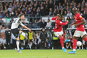 Derby County defender Scott Malone (46) shoots at goal during the EFL Sky Bet Championship match between Derby County and Bristol City at the Pride Park, Derby, England on 20 August 2019.