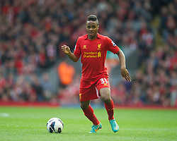 LIVERPOOL, ENGLAND - Saturday, October 20, 2012: Liverpool's Raheem Sterling in action against Reading during the Premiership match at Anfield. (Pic by David Rawcliffe/Propaganda)