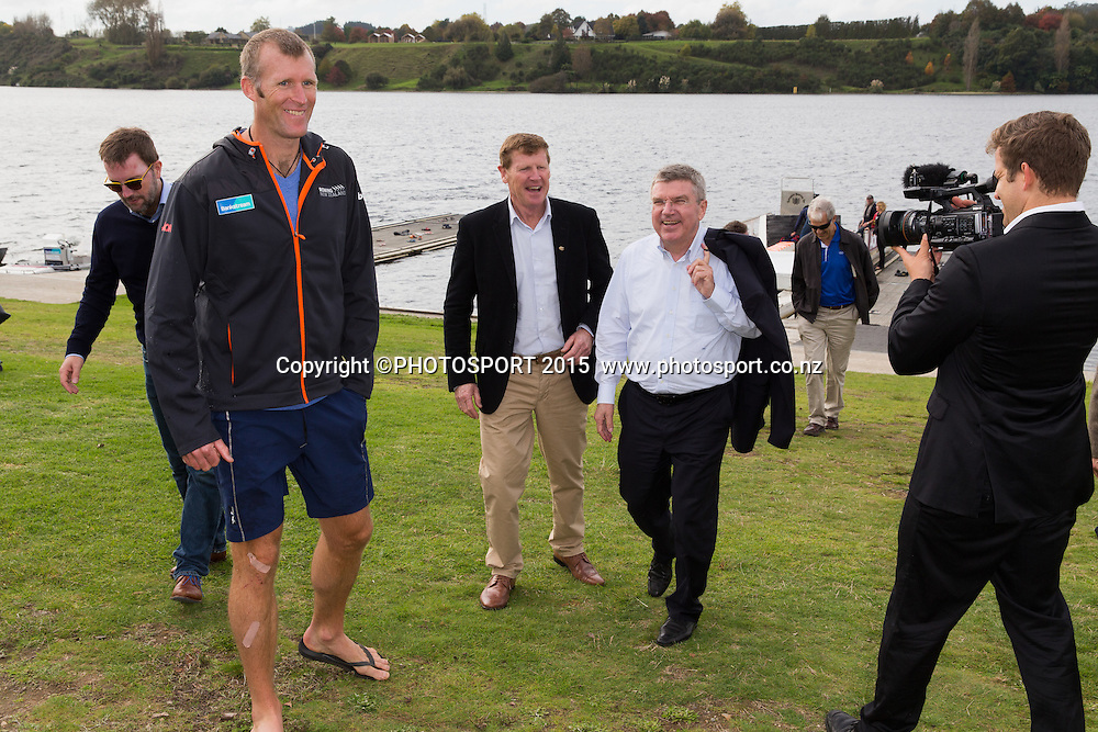 Mahe Drysdale, Mike Stanley (NZ IOC) and IOC president Thomas Bach at the Rowing NZ Media Day, Lake Karapiro, Cambridge, New Zealand, Wednesday 6 May 2015. Photo: Stephen Barker/Photosport.co.nz