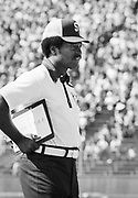 PALO ALTO, CA - SEPTEMBER 28:  Coach Willie Shaw of Stanford University watches from the sidelines during an NCAA football game between the Stanford Cardinals and the San Jose State Spartans played on September 28, 1974 at Stanford Stadium in Palo Alto, California.  Willie Shaw's son David Shaw later played and coached at Stanford.  (Photo by David Madison/Getty Images)