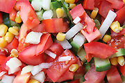 Fresh Israeli Salad with  tomato cucumber and corn