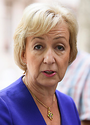 © Licensed to London News Pictures. 09/07/2018. London, UK. Minister of State at the Department of Energy and Climate Change ANDREA LEADSOM is seen leaving Milbank Studios in London after a television appearance discussing the resignation of former Brexit Secretary David Davis. Photo credit: Ben Cawthra/LNP