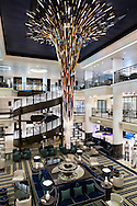 The Atrium and Star Burst sculpture on board P&O Cruises' newest ship, Britannia, which arrived into her home port of Southampton on Friday. She will be named by Her Majesty the Queen on Tuesday. She is the largest vessel in the P&O fleet, capable of carrying 3600 passengers, and is the biggest ship built to serve the british cruise market.<br /> Picture date: Saturday March 7, 2015.<br /> Photograph by Christopher Ison ©<br /> 07544044177<br /> chris@christopherison.com<br /> www.christopherison.com