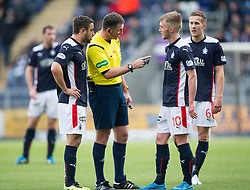 Ref John McKendrick at Falkirk's Craig Sibbald after his tackle on Brechin City&rsquo;s Paul McLean. <br /> Falkirk 2 v 1 Brechin City, Scottish Cup fifth round game played today at The Falkirk Stadium.