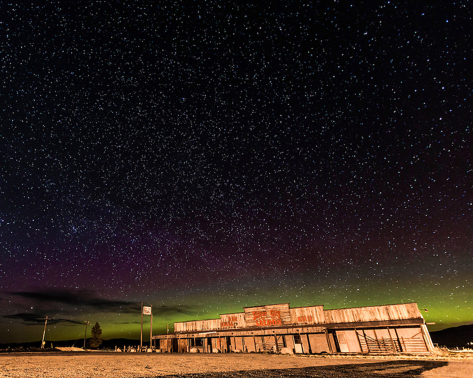 The Northern Lights warm up behind Silver City Saloon.