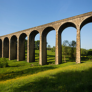 Thornton viaduct in Thornton village near Bradford. The viaduct was part of the railway connecting Bradford to Halifax and Keighley, which opened in 1878 and was closed in 1955. The viaduct and line from Thornton to Cullingworth have been reopened to walkers and cyclists as The Great Northern Trail.