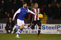 Leon Clarke of Sheffield United takes on Frederico Venancio of Sheffield Wednesday - Mandatory by-line: Robbie Stephenson/JMP - 12/01/2018 - FOOTBALL - Bramall Lane - Sheffield, England - Sheffield United v Sheffield Wednesday - Sky Bet Championship