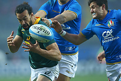 November 25, 2017 - Padova, Italy - Dillyn Leyds of South Africaand Marcello Violi of Italy at Plebiscito Stadium in Padova, Italy on November 25, 2017, during the Rugby test match between Italy v South Africa. (Credit Image: © Matteo Ciambelli/NurPhoto via ZUMA Press)