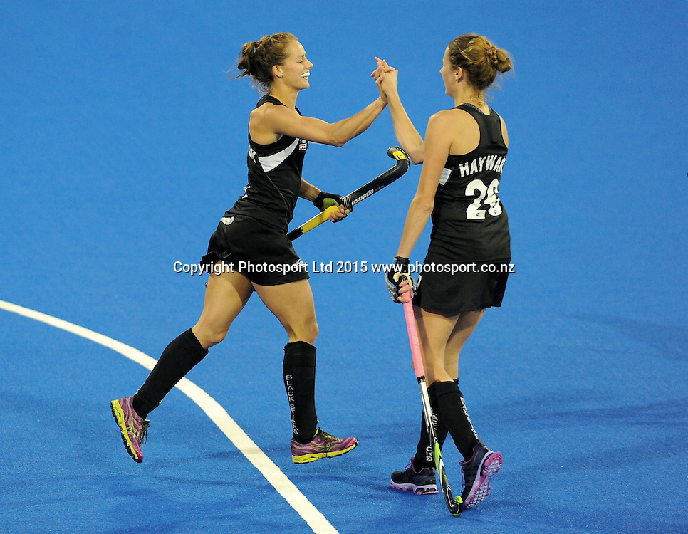 New Zealand Black Sticks Petrea Webster and Pippa Hayward celebrate a goal against Korea in the Festival of Hockey, New Zealand Womens Black Sticks v Korea, Unison Sports Park, Hastings, Saturday, April 118 2015. Photo: Kerry Marshall / photosport.co.nz