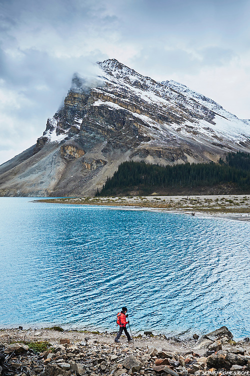 Hiking the Bow Lake trail to Bow Glacier in Banff National Park, Alberta, Canada.