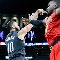 25 February 2017: Orlando Magic guard Evan Fournier (10) takes a jump shot over Atlanta Hawks forward Paul Millsap (4) during the Orlando Magic 105-86 victory over the Atlanta Hawks, at the Amway Center, Orlando, Florida, USA.