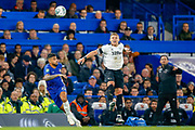Derby County forward Martyn Waghorn (9) beats Chelsea defender Emerson Palmieri (33) to the ball during the EFL Cup 4th round match between Chelsea and Derby County at Stamford Bridge, London, England on 31 October 2018.