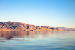 """Pyramid Lake, Nevada 2"" - Daytime photograph of Pyramid Lake, in Nevada. The Pyramid can be seen in the distance."