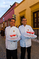 Waiters serving margaritas at Mundo Cuervo (a visitor and events center at the Jose Cuervo tequila distillery) in the town of Tequila, Jalisco, Mexico