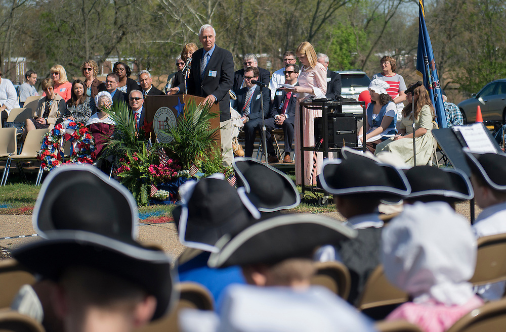 Pa State Senator Stewart Greanleaf presents  a proclamation from the state senate at Crooked Billet Elementary School during a celebration to commemorate the 236th anniversary of the Battle of Crooked Billet, Friday, May 2, 2014  (PHOTO Bryan Woolston / @woolstonphoto)