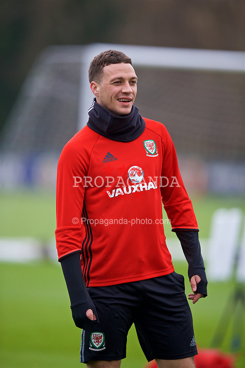CARDIFF, WALES - Thursday, March 23, 2017: Wales' James Chester during a training session at the Vale Resort ahead of the 2018 FIFA World Cup Qualifying Group D match against Republic of Ireland. (Pic by David Rawcliffe/Propaganda)