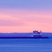 Rockland Breakwater Lighthouse at sunrise. Rockland, Maine