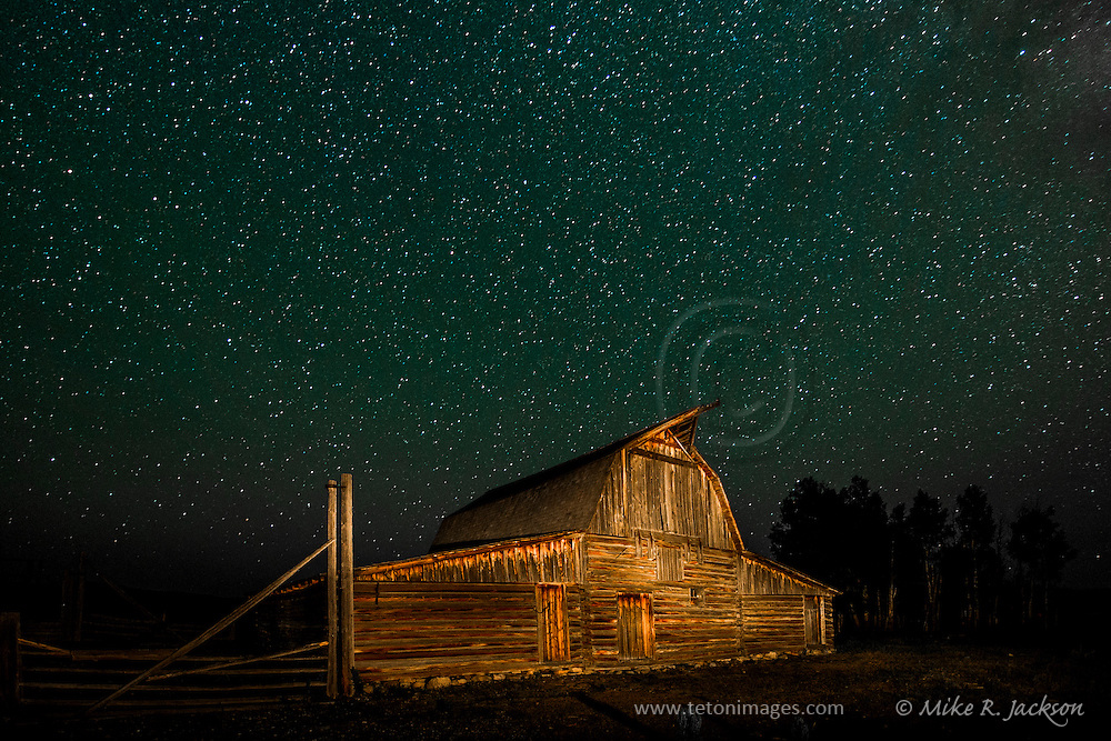 Calm night over the Moulton Barn in Grand Teton National Park.