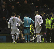Kyle Letheren gets to his feet in the aftermath of the incident which led to the Dundee keeper being stretchered off  - Raith Rovers v Dundee,  SPFL Championship at Dens Park<br /> <br />  - &copy; David Young - www.davidyoungphoto.co.uk - email: davidyoungphoto@gmail.com