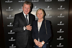 On 25th April 2014 in London at the Hublot Boutique in New Bond Street, Ricardo Guadalupe, CEO of Hublot, presented Roy Hodgson, the Manager of the England National football team, with a watch that has been created and named in his honour. The Hublot King Power 66 Hodgson is a Limited Edition of 66 pieces to commemorate the year that England won the World Cup. The idea was hatched from Roy's son Christopher who also collaborated with Hublot on the design of this amazing piece. The presentation was followed by a tour and a dinner at the House of Commons that was attended by Hublot VIP customers.<br /> <br /> PICTURE SHOWS:- Roy Hodgson, the Manager of the England National football team and his wife Sheila Hodgson.