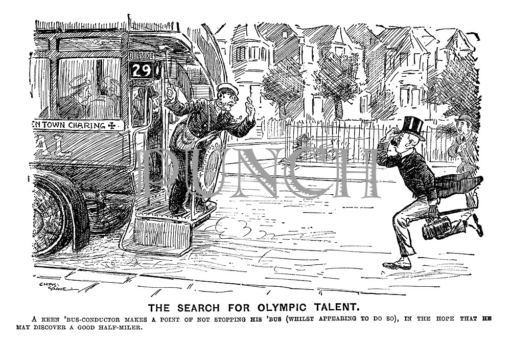 The Search for Olympic Talent. A keen 'bus-conductor makes a point of not stopping his 'bus (whilst appearing to do so), in the hope that he may discover a good half-miler.