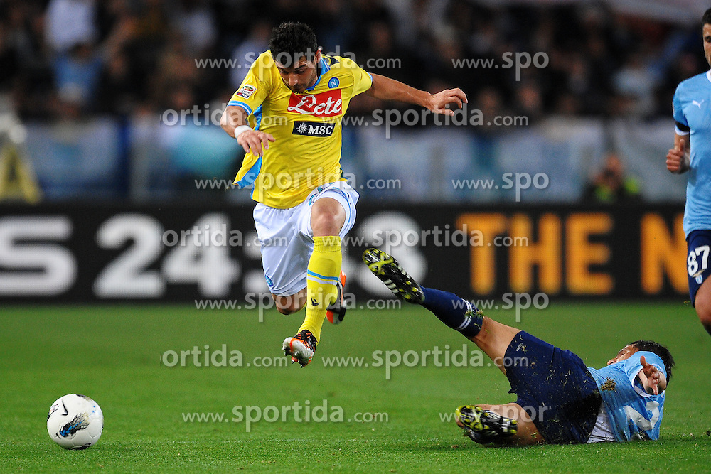 07.04.2012, Olympiastadion, Rom, ITA, Serie A, Lazio Rom vs SSC Neapel, 31. Spieltag, im Bild Blerim Dzemaili Napoli, Cristian Ledesma Lazio // during the football match of Italian 'Serie A' league, 31th round, between Lazio Rom and SSC Neapel at Olympic Stadium, Rome, Italy on 2012/04/07. EXPA Pictures © 2012, PhotoCredit: EXPA/ Insidefoto/ Andrea Staccioli..***** ATTENTION - for AUT, SLO, CRO, SRB, SUI and SWE only *****