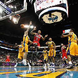 February 12, 2011; New Orleans, LA, USA; Chicago Bulls point guard Derrick Rose (1) loses the ball out of bounds against the New Orleans Hornets during the second half at the New Orleans Arena.  The Bulls defeated the Hornets 97-88. Mandatory Credit: Derick E. Hingle