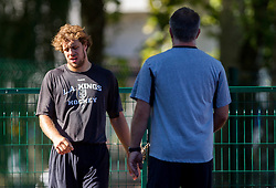 Anze Kopitar, Los Angeles Kings ice hockey player and his father and coach Matjaz Kopitar at athletics training before new NHL season 2013/14 on August 1, 2013 in Bled, Slovenia.  (Photo by Vid Ponikvar / Sportida.com)