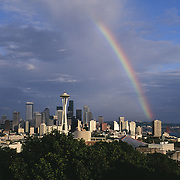 Rainbow over Seattle, Washington USA skyline<br />
