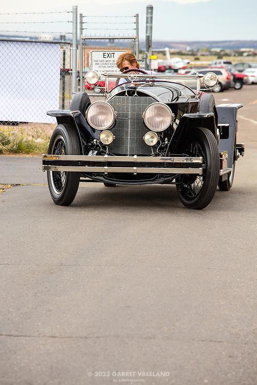 Petersen Museum's 1923 Mercedes 28/95 Targa Florios is unloaded.