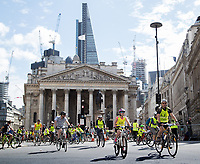 Riders pass the Royal Exchange as part of the Prudential RideLondon FreeCycle 29/07/2017.<br />