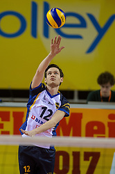 20-02-2015 NED: Landstede Volleybal - Peelpush, Almere<br /> Landstede verslaat in de halve finale Peelpush met 3-0 / Eddy Raaijmakers #12 of Peelpush
