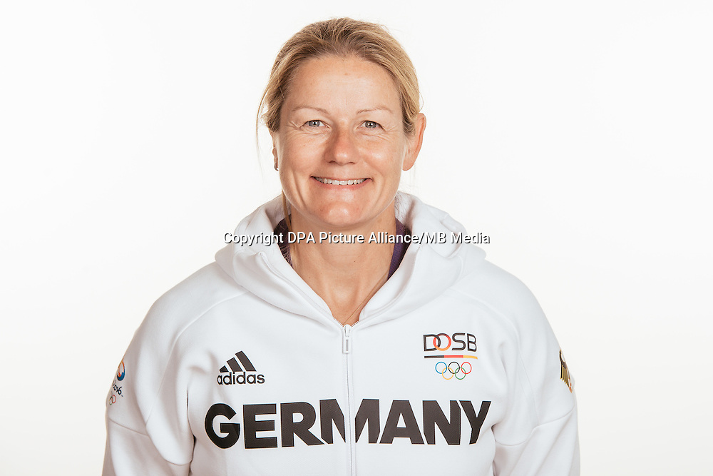 Angelika Steeger- Adams poses at a photocall during the preparations for the Olympic Games in Rio at the Emmich Cambrai Barracks in Hanover, Germany, taken on 15/07/16   usage worldwide