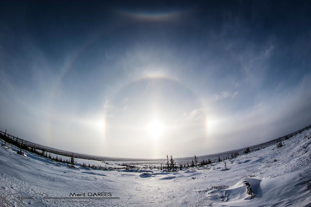Double sundogs over the northern Manitoban tundra
