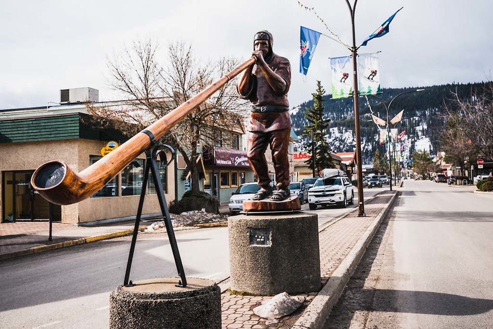 Alpenhorn Player on Main Street, Smithers, BC.